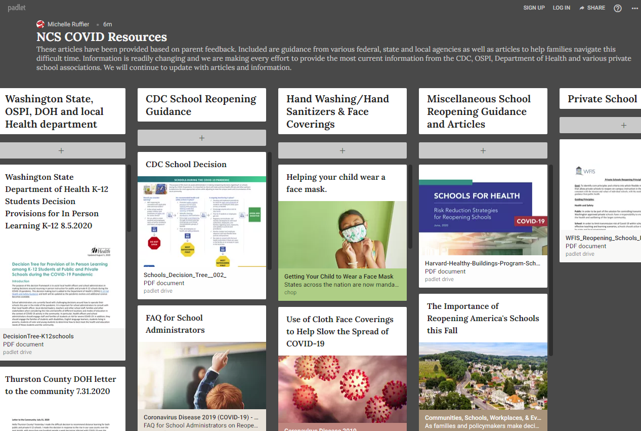 NCS COVID Resources Padlet